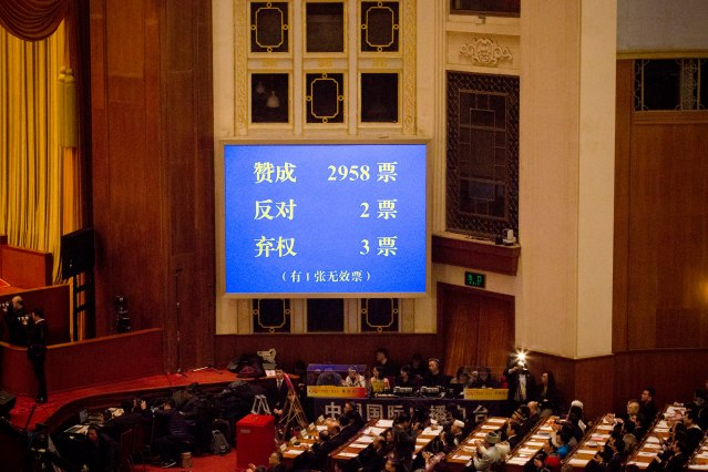 A screen showing the result of a vote to repeal presidential term limits.Photographer- Giulia Marchi:Bloomberg